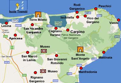 Cartina Geografica San Giovanni Rotondo.Itinerari Gargano